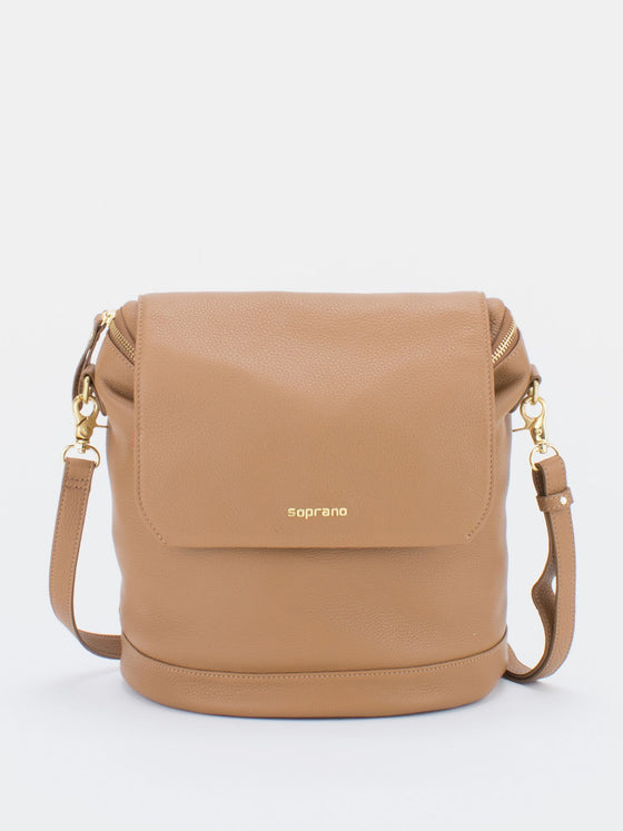 JACKIE Leather Convertible Backpack Shoulder Bag - Camel