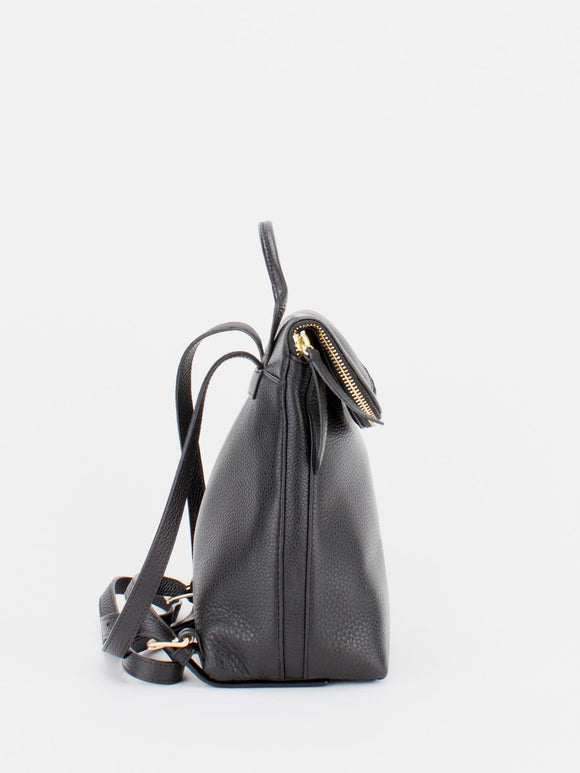 ALIZA Leather Mini Backpack - Black