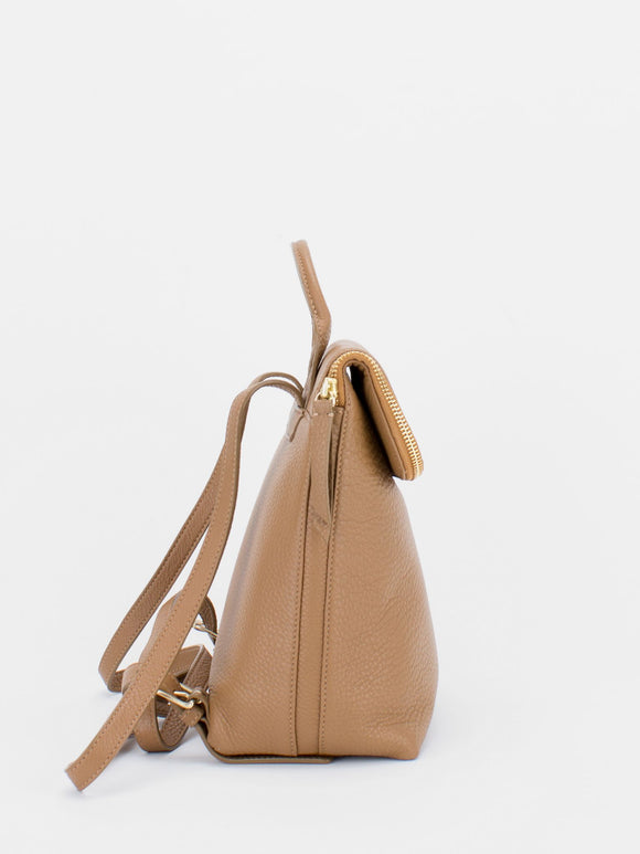 ALIZA Leather Mini Backpack - Camel