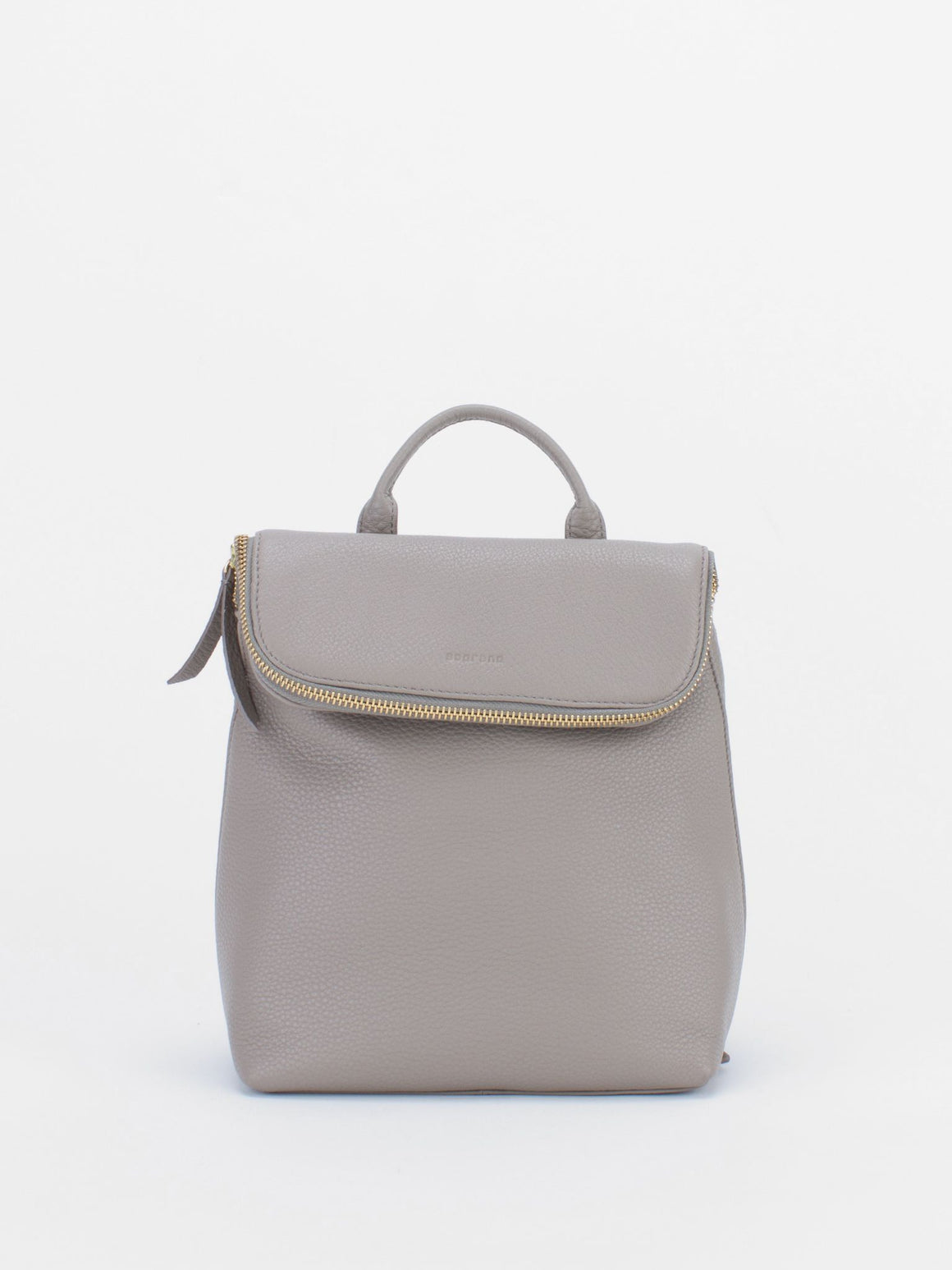 ALIZA Leather Mini Backpack - Light Grey