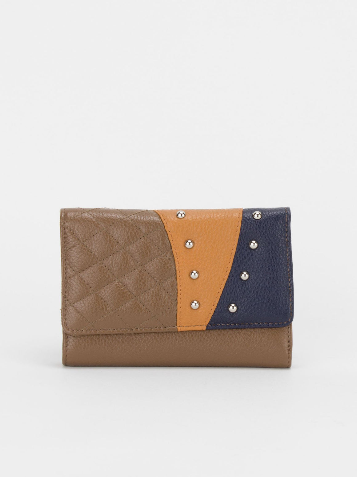 Bella Colourblock Leather Medium Wallet - Brown