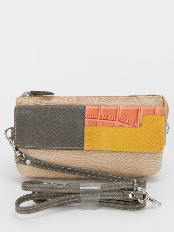 Ruth Reptile Print Leather Wallet Bag/Wristlet