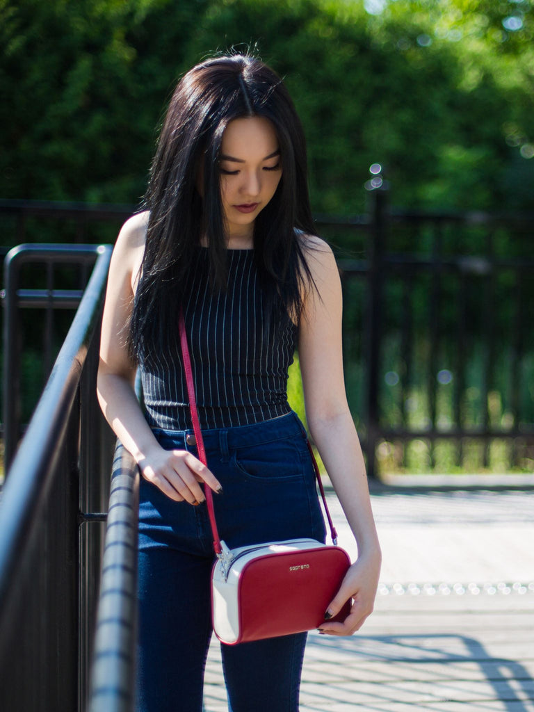 IVY Colour Block Crossbody - Red/Off White