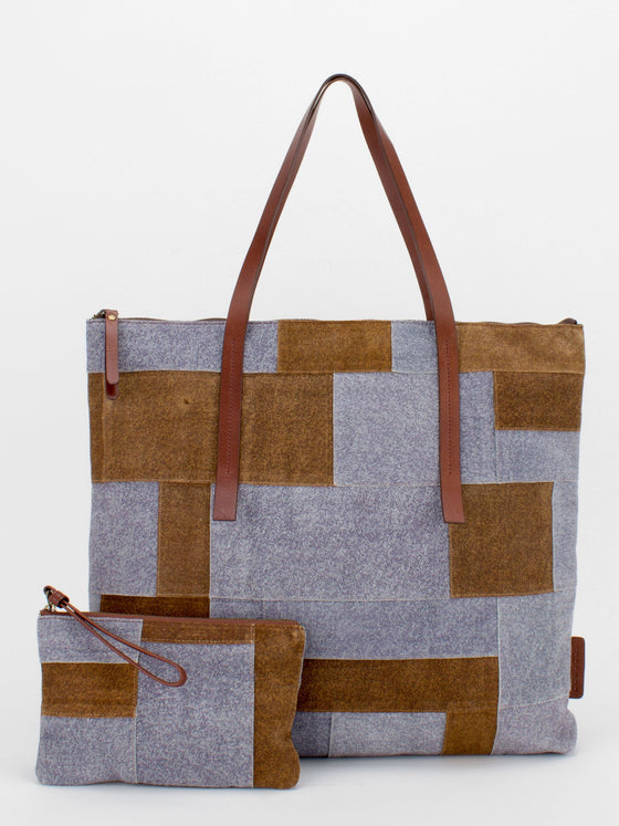 GERRIE Denim Leather Patchwork Tote - Brown/Blue