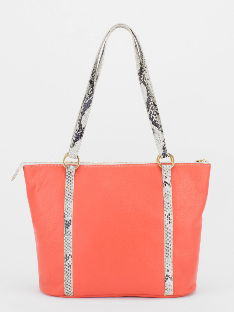 DARLENE Leather Python Trim Shoulder Tote - Orange/Python