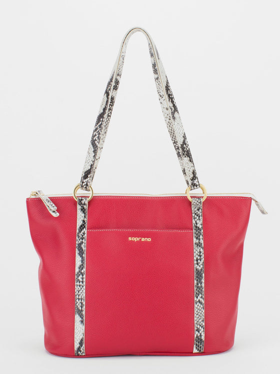 DARLENE Leather Python Trim Shoulder Tote - Red/Python
