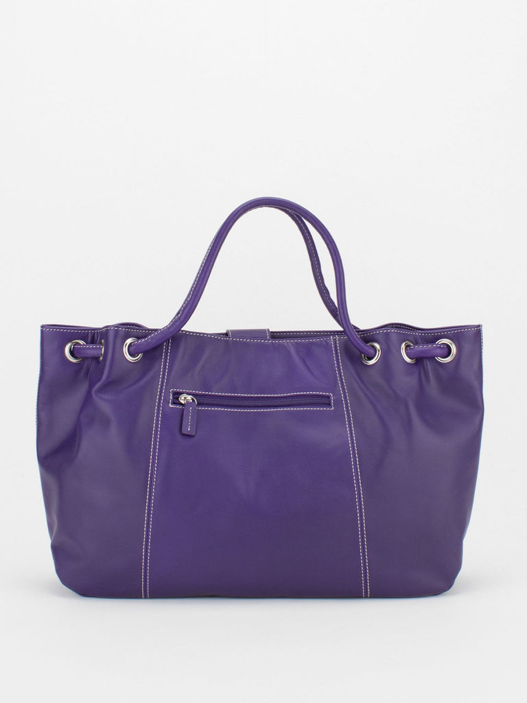 JESSIE Leather Bag with Tassel Accent - Purple