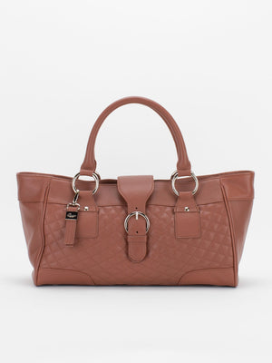 Hannah Quilted Leather Satchel - Tan