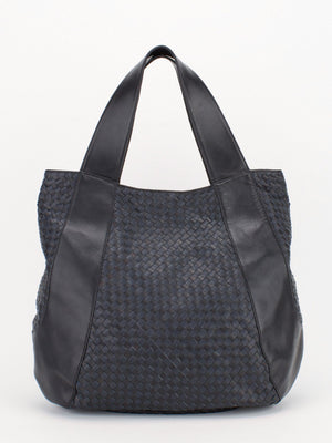 Jennifer Woven Leather Tote - Navy/Black