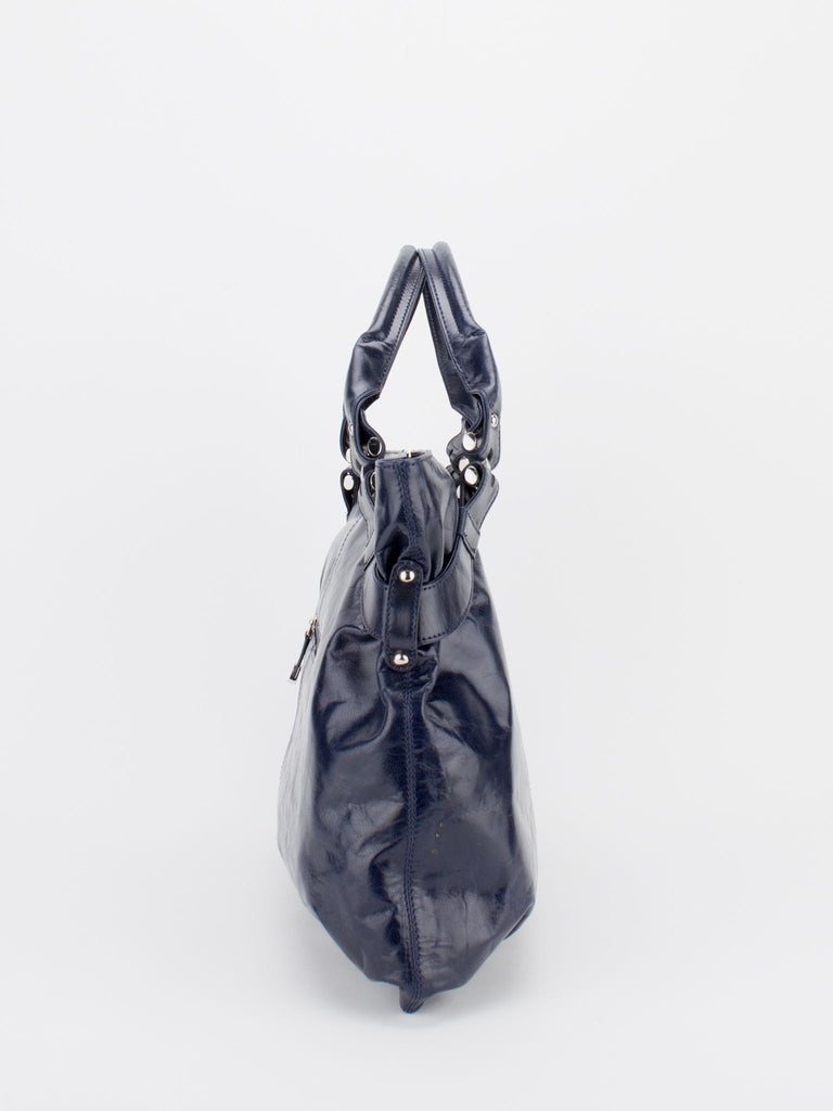 Sally Glazed Leather Satchel - Navy