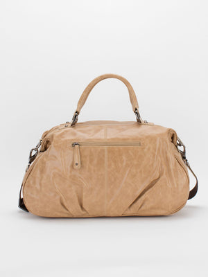 Athena Marble Glazed Leather Satchel - Taupe