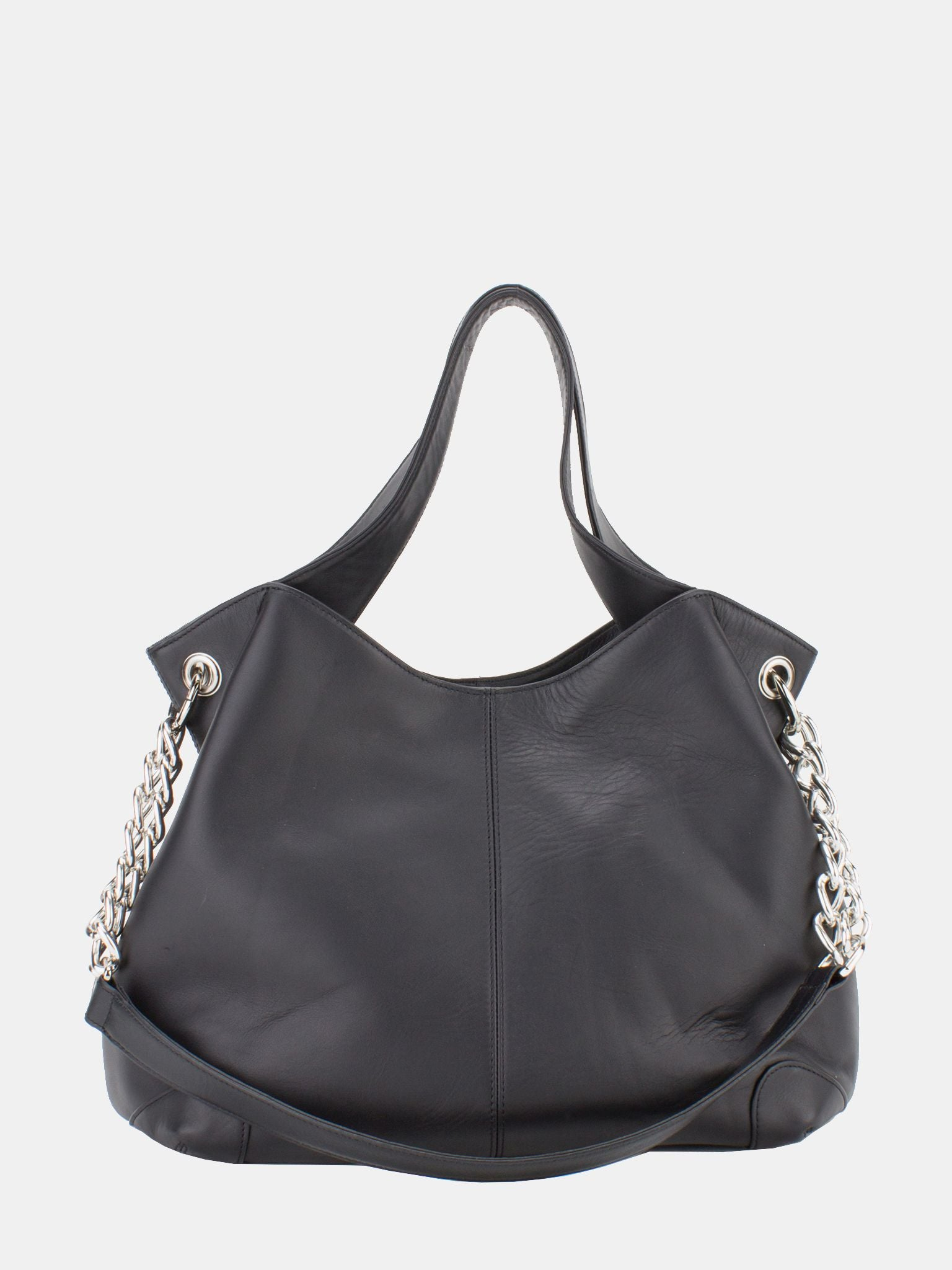 Sharon Chain Accent Leather Bag - Black