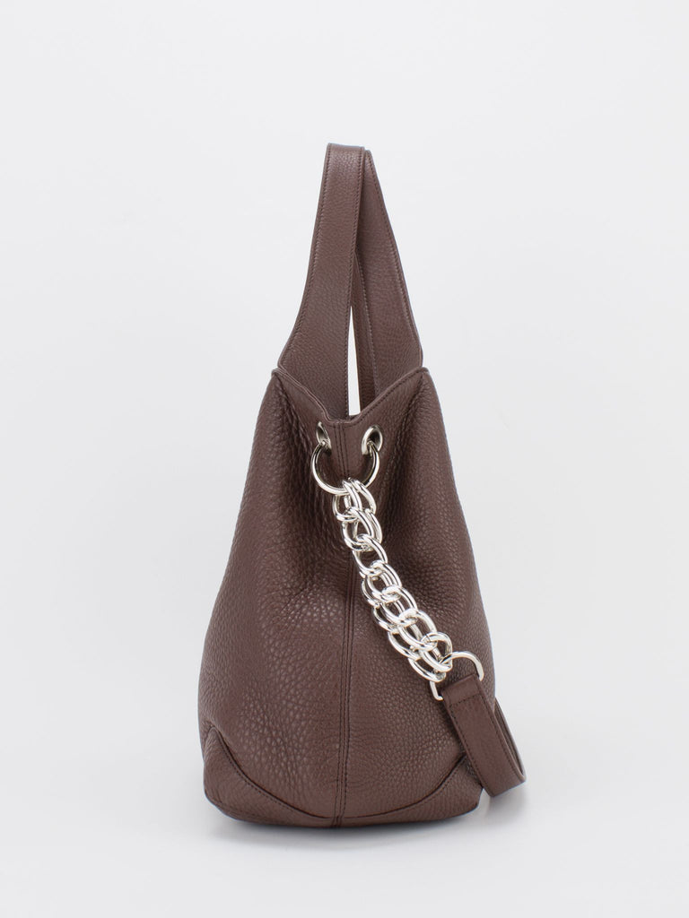 SHARON Chain Accent Leather Bag - Brown