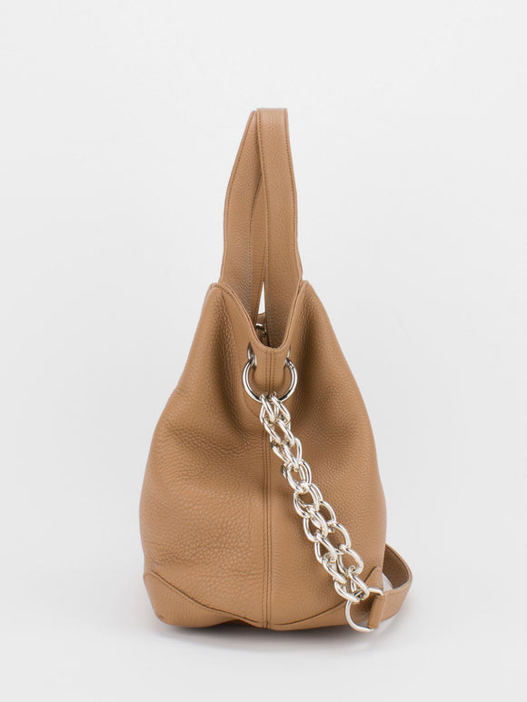 SHARON Chain Accent Leather Bag - Camel