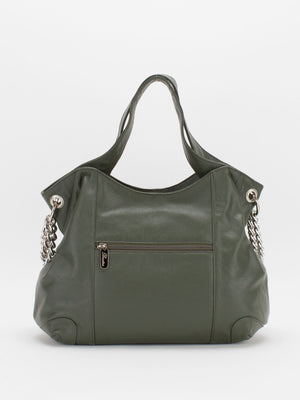 Sharon Chain Accent Leather Bag - Olive