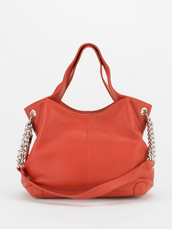 SHARON Chain Accent Leather Bag - Orange
