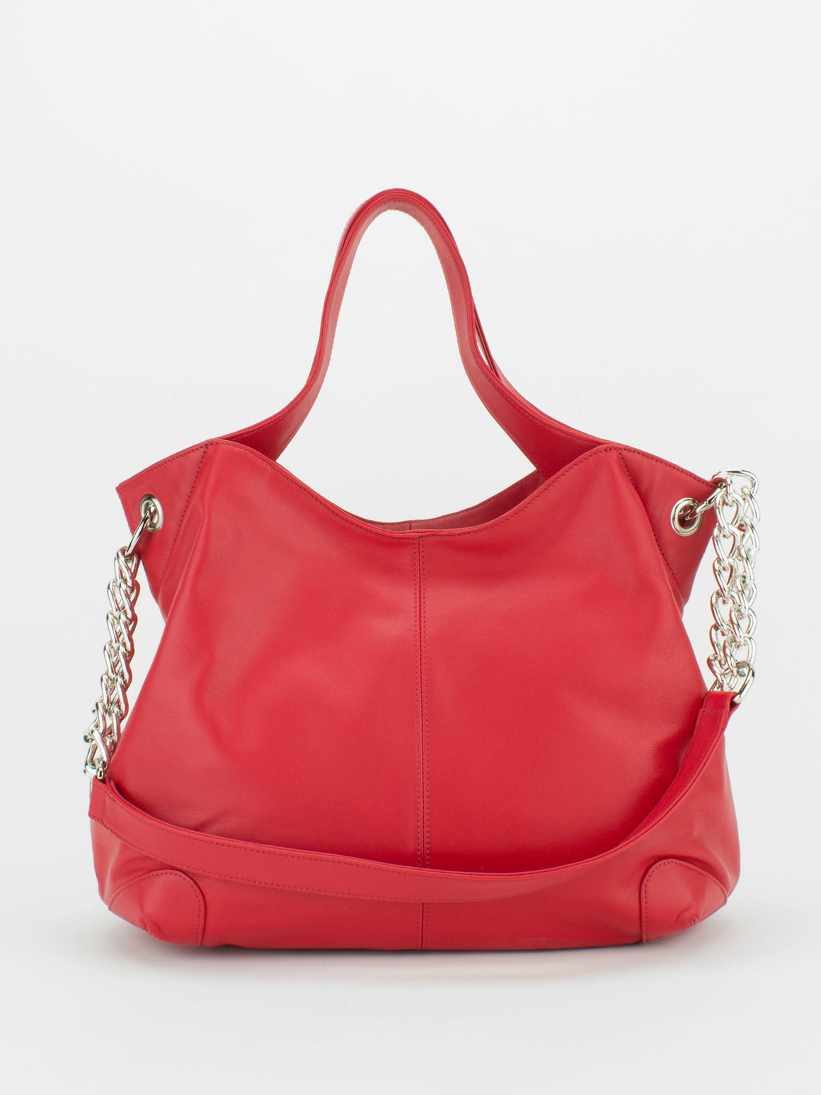SHARON Chain Accent Leather Bag - Red