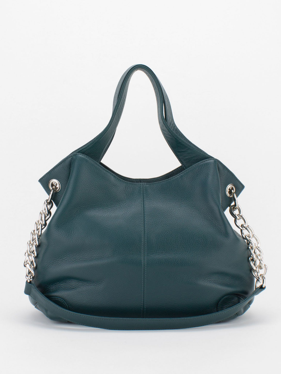 SHARON Chain Accent Leather Bag - Teal