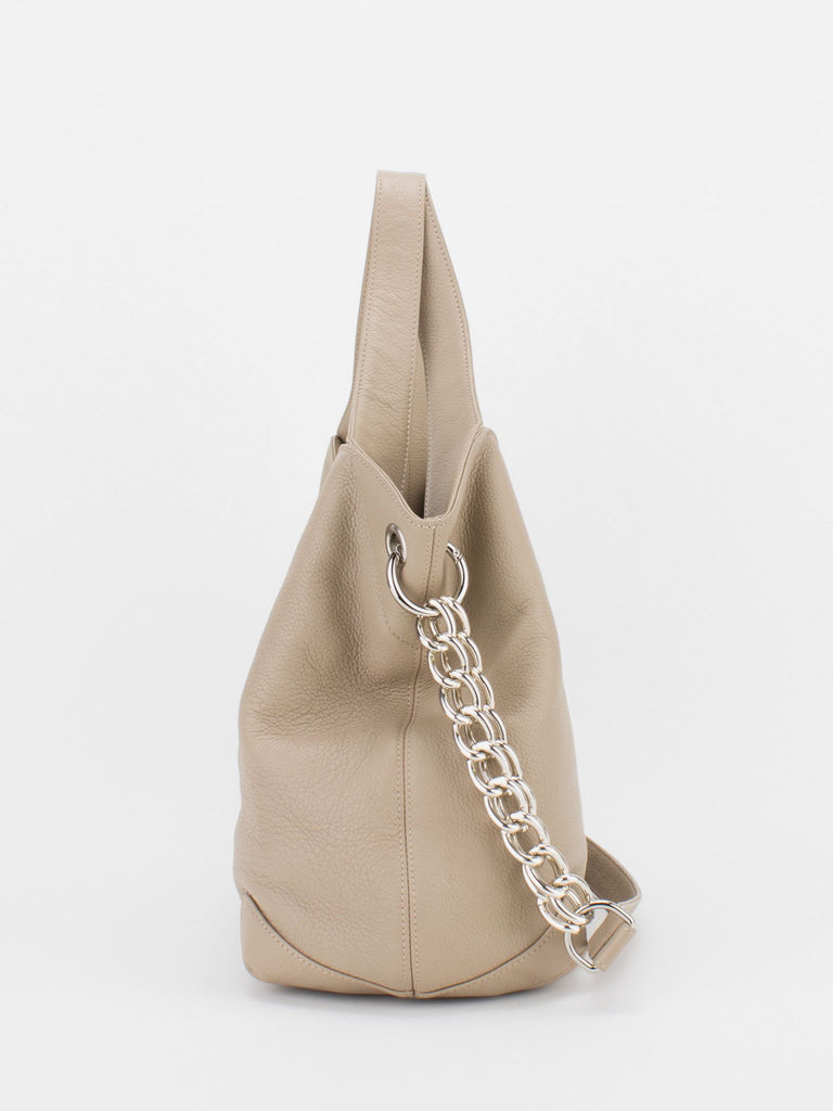 SHARON Chain Accent Leather Bag - Taupe