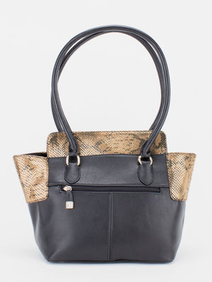 Zoe Metallic Python Print Leather Tote - Black/Gold