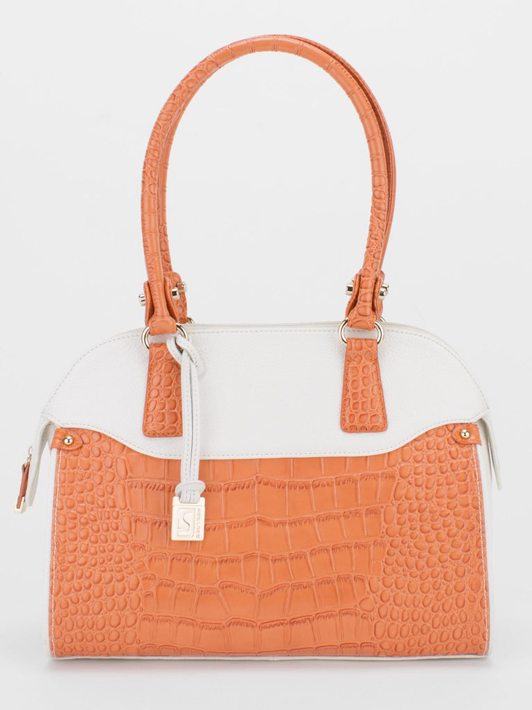 LOUISA Pebble Leather Croc Trim Tote - White/Orange