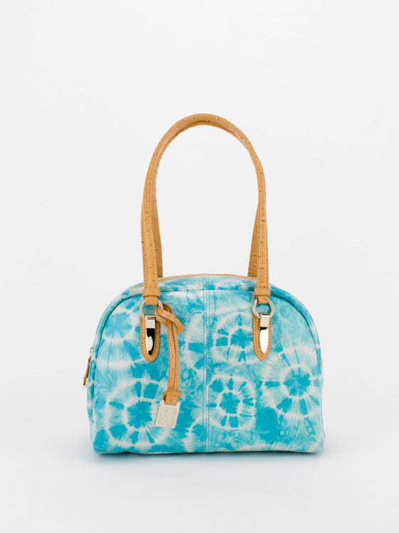 TRACY Tie-Dye Bowler with Ostrich Embossed Trim - Blue