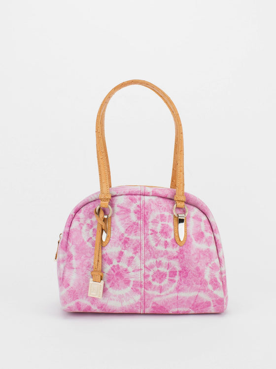 TRACY Tie-Dye Bowler with Ostrich Embossed Trim - Fuchsia