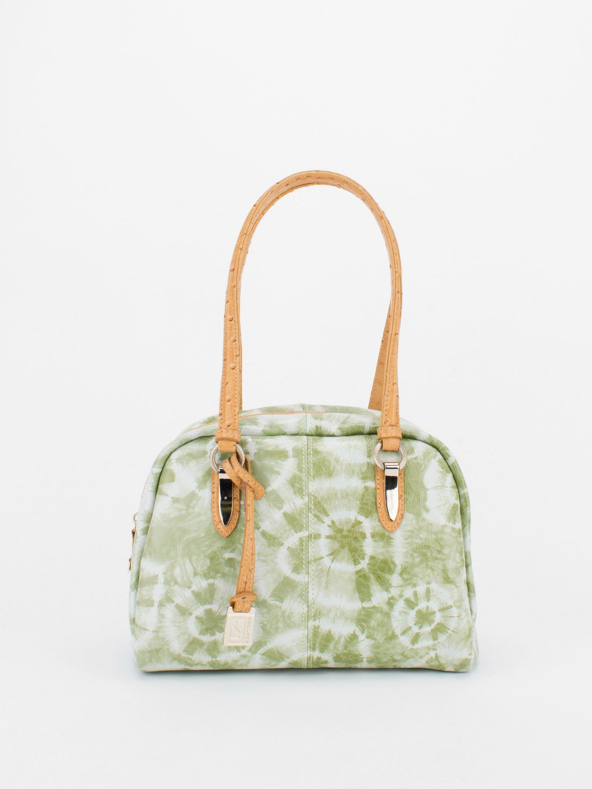 TRACY Tie-Dye Bowler with Ostrich Embossed Trim - Green
