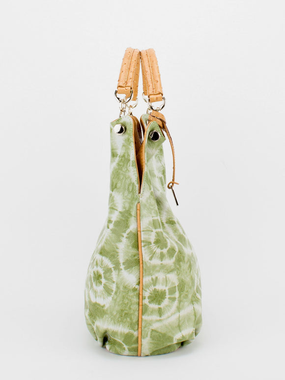 LUCILLE Tie-Dye Shoulder Bag with Ostrich Embossed Trim - Green