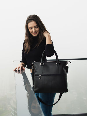 Caitlyn Leather Crossbody - Black