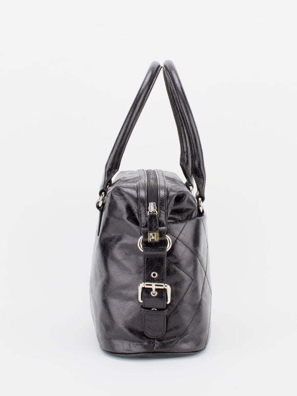 CHRISTINE Glazed Leather Satchel - Black