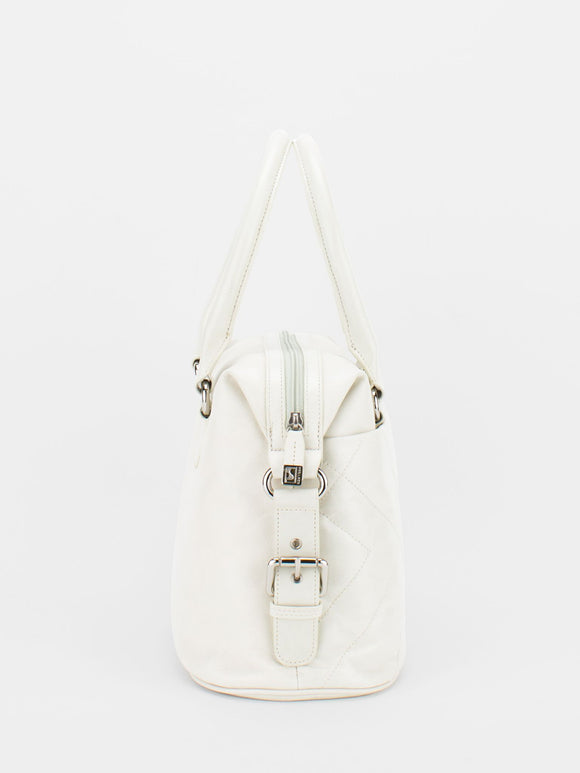 CHRISTINE Glazed Leather Satchel - Bone
