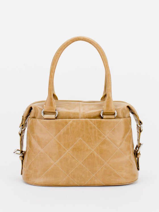 CHRISTINE Glazed Leather Satchel - Honey