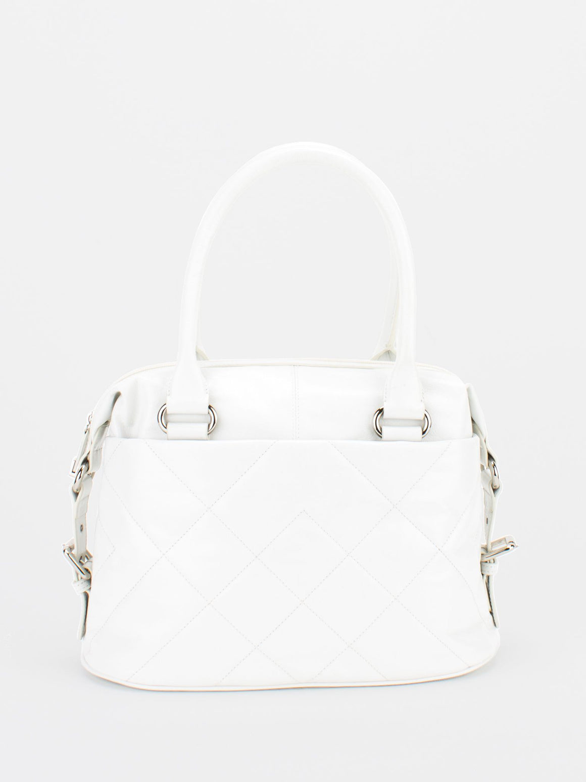 CHRISTINE Glazed Leather Satchel - White