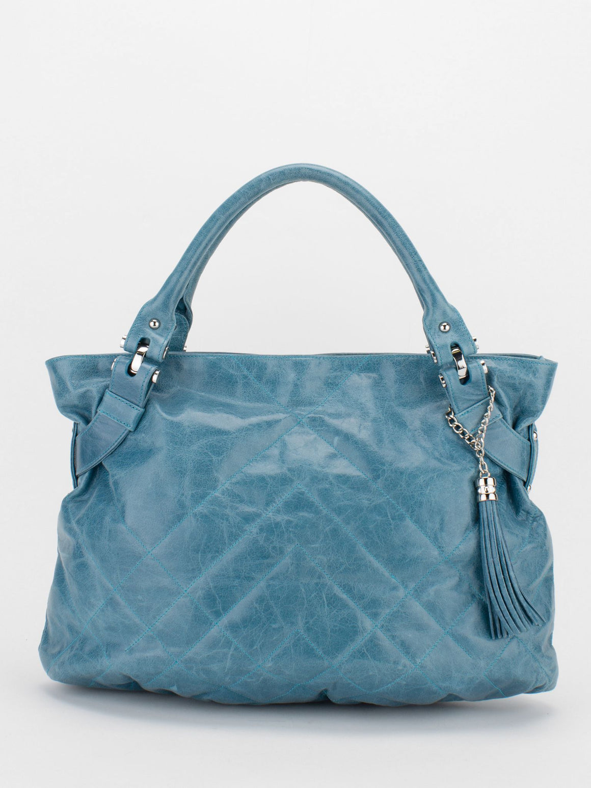 CAROL Glazed Leather Shoulder Bag - Blue