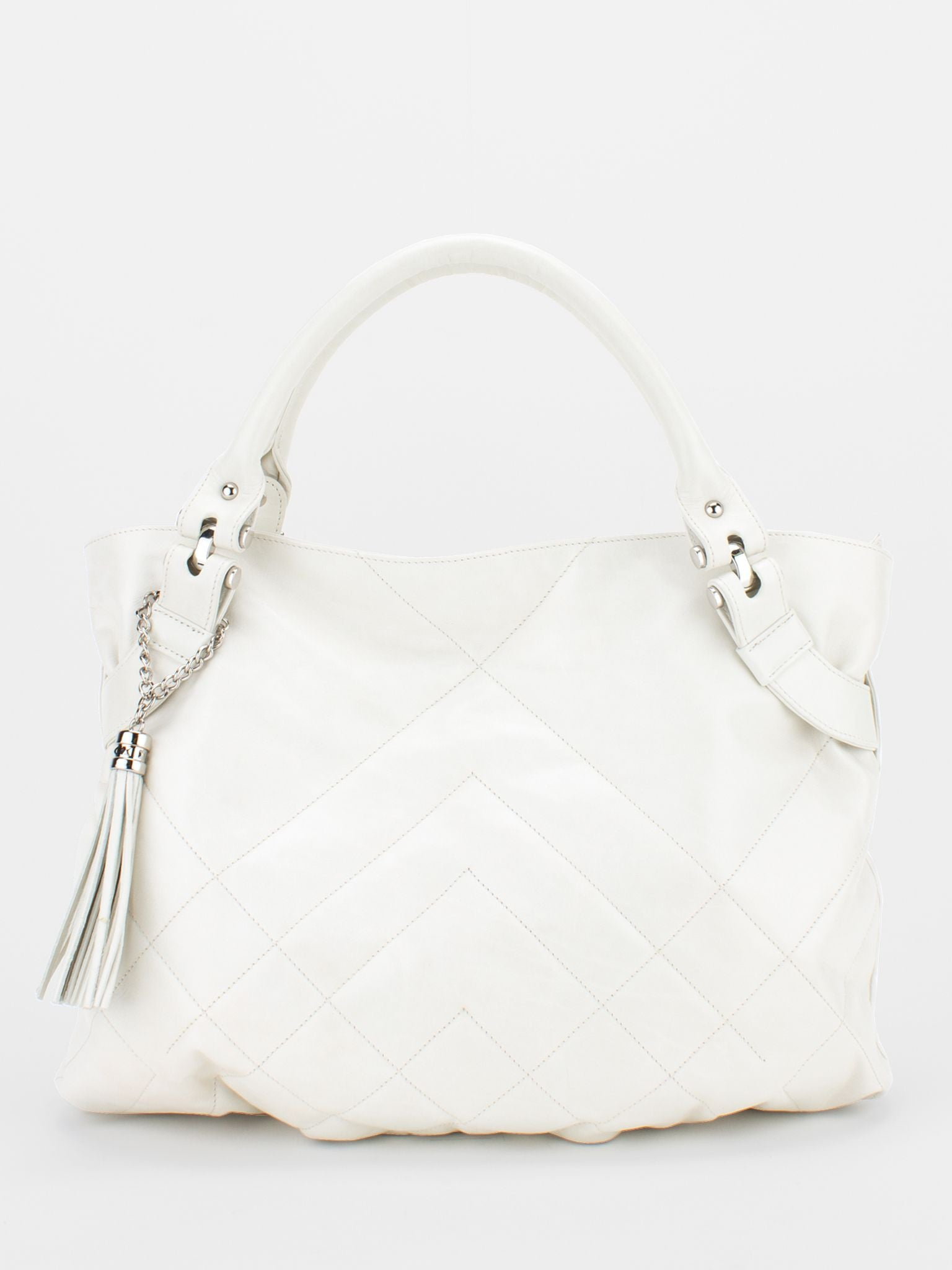 Carol Glazed Leather Tote - Off-White - Soprano Handbags