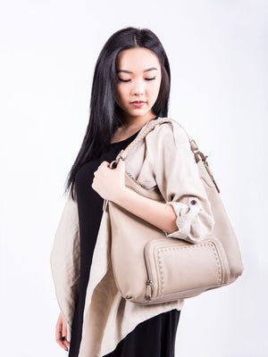 Rachel Braided Handle Leather Hobo - Beige