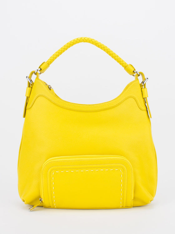 RACHEL Braided Handle Leather Hobo - Lemon