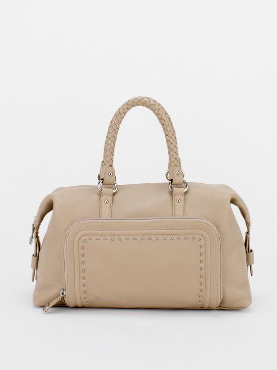 CATHY Braided Handle Leather Satchel - Beige