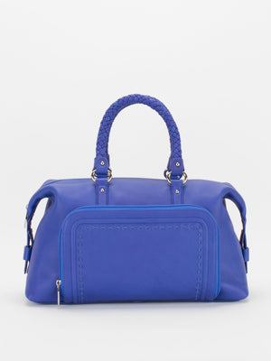 Cathy Braided Handle Leather Satchel - Cobalt