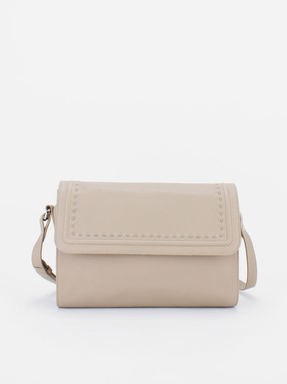 TERESA Flapover Leather Shoulder Bag - Beige