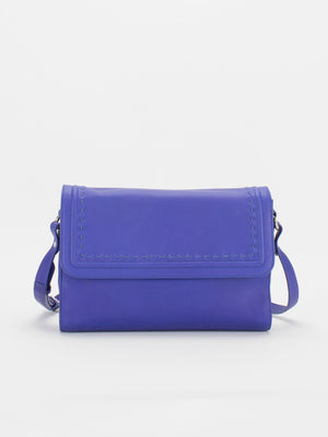 Teresa Flapover Leather Shoulder Bag - Cobalt