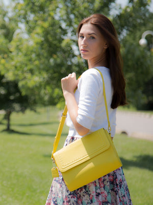 Teresa Flapover Leather Bag - Lemon