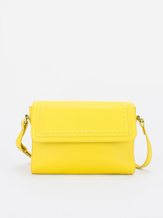 TERESA Flapover Leather Shoulder Bag - Lemon