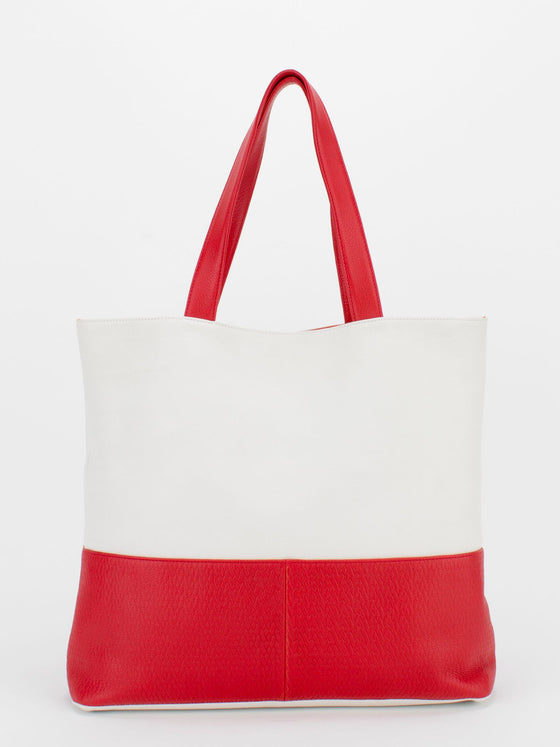 AUDREY Natural Grain Colour Block Upright Tote - White/Red