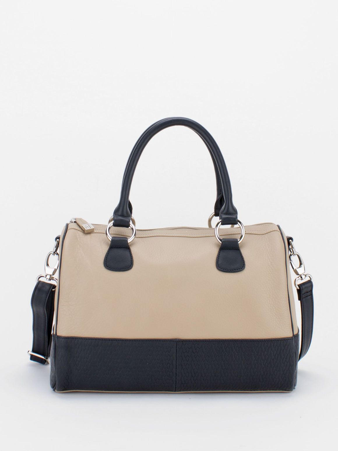 MAUREEN Natural Grain Colour Block Satchel - Beige/Black
