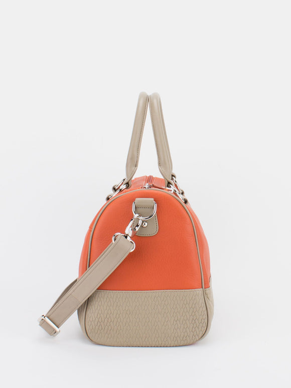 Maureen Colourblock Satchel - Orange/Beige