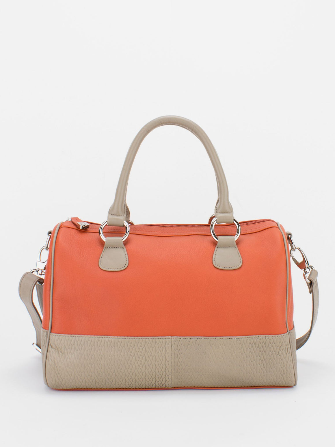 MAUREEN Natural Grain Colour Block Satchel - Orange/Beige