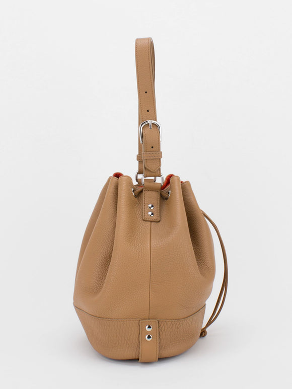 SUE Leather Drawstring Bucket Bag - Camel