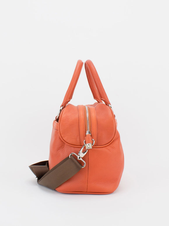 Shirley Pleated Leather Satchel - Orange
